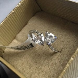 2 Carat Two Stone CZ Ring in 925, Size 10